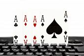 internet casino poker four of kind aces cards comdination hearts on keyboard poster