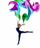 Dancer Woman Gymnastic with Flying Cloth Girl Gymnast in Leotard Pose with Waving Fabric isolated over White Background poster