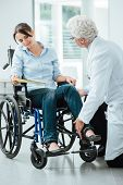 Doctor visiting an invalid woman in wheelchair he is examining her leg rehabilitation and physioteraphy concept poster