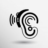 Ear vector icon hearing aid ear listen sound graphics. poster