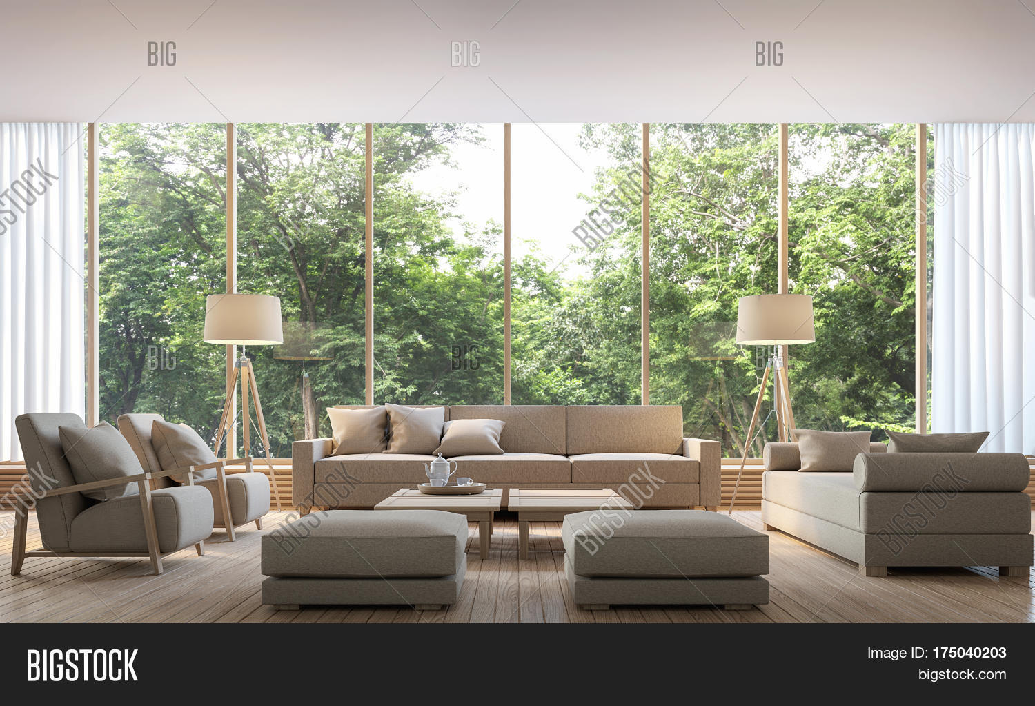 Modern Living Room With Nature View 3d Rendering Image. There Are  Decorations In Room With