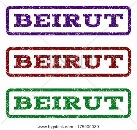 Beirut watermark stamp. Text caption inside rounded rectangle with grunge design style. Vector variants are indigo blue red green ink colors. Rubber seal stamp with dirty texture.