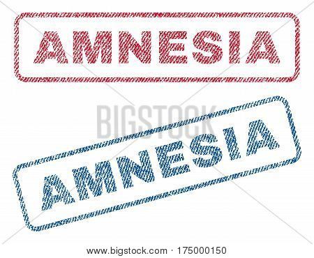 Amnesia text textile seal stamp watermarks. Blue, red fabric vectorized texture. Vector caption inside rounded rectangular banner. Rubber sticker with fiber textile structure.
