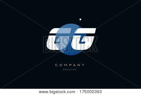Gg G G  Blue White Circle Big Font Alphabet Company Letter Logo