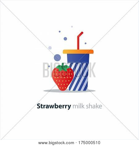 Fresh strawberry milk shake, blue tumbler glass with stripes, refreshing smoothie drink, vector flat design illustration