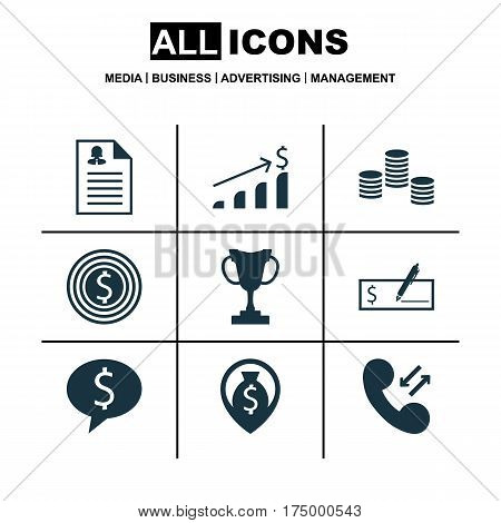 Set Of 9 Hr Icons. Includes Money, Successful Investment, Female Application And Other Symbols. Beautiful Design Elements.