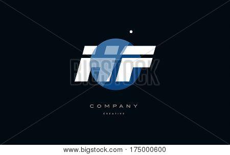 Hf H F  Blue White Circle Big Font Alphabet Company Letter Logo