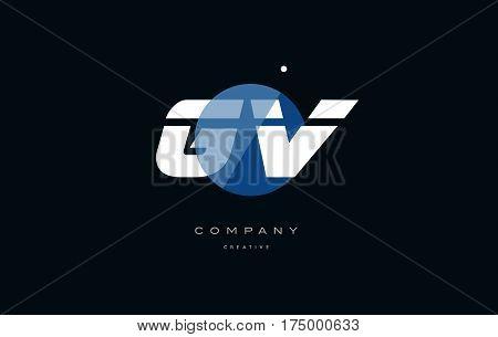 Gv G V  Blue White Circle Big Font Alphabet Company Letter Logo