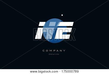 He H E  Blue White Circle Big Font Alphabet Company Letter Logo