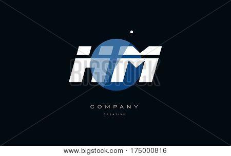 Hm H M  Blue White Circle Big Font Alphabet Company Letter Logo