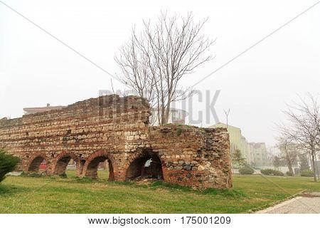 Byzantine walls near dayioglu turkish bath in Bursa