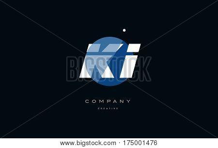 Ki K I  Blue White Circle Big Font Alphabet Company Letter Logo