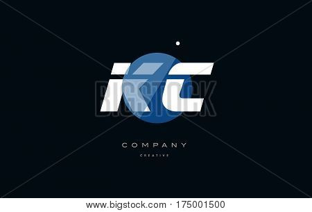 Kc K C  Blue White Circle Big Font Alphabet Company Letter Logo