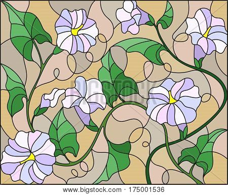 Illustration in stained glass style flowers loach light flowers and leaves on beige background