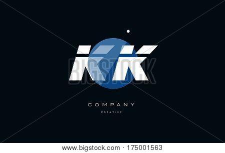 Kk K K  Blue White Circle Big Font Alphabet Company Letter Logo