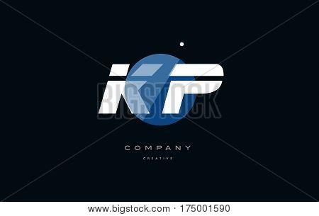 Kp K P  Blue White Circle Big Font Alphabet Company Letter Logo