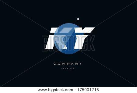 Ky K Y  Blue White Circle Big Font Alphabet Company Letter Logo