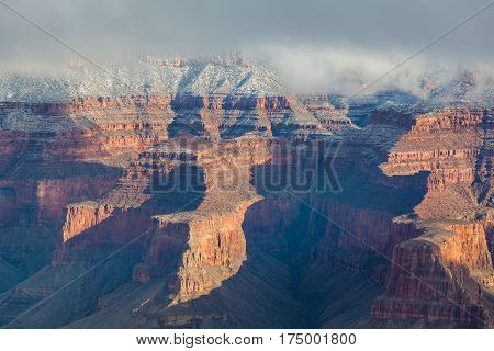 the south rim of the grand canyon after a winter snow