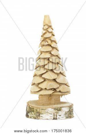 Small handmade wooden xmas tree on white