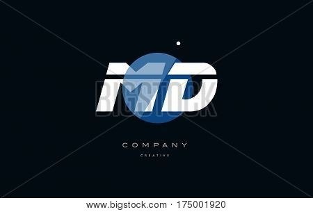 Md M D  Blue White Circle Big Font Alphabet Company Letter Logo