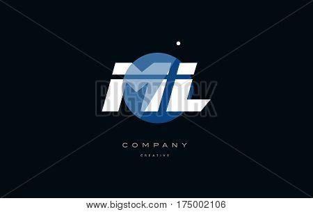 Ml M L  Blue White Circle Big Font Alphabet Company Letter Logo