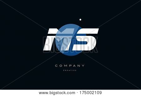 Ms M S  Blue White Circle Big Font Alphabet Company Letter Logo