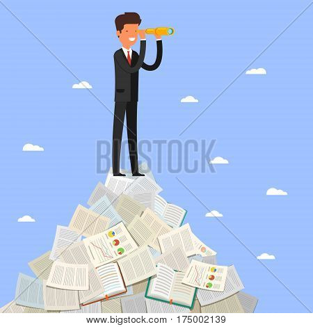 Business leadership and goal concept. Businessman stands on peak looking through spyglass into future. Flat design, vector illustration.