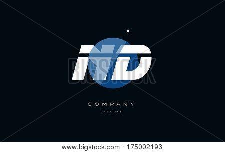 Nd N D  Blue White Circle Big Font Alphabet Company Letter Logo