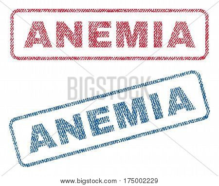 Anemia text textile seal stamp watermarks. Blue, red fabric vectorized texture. Vector tag inside rounded rectangular banner. Rubber sticker with fiber textile structure.