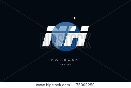Nh N H  Blue White Circle Big Font Alphabet Company Letter Logo
