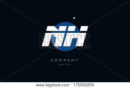 Ni N I  Blue White Circle Big Font Alphabet Company Letter Logo
