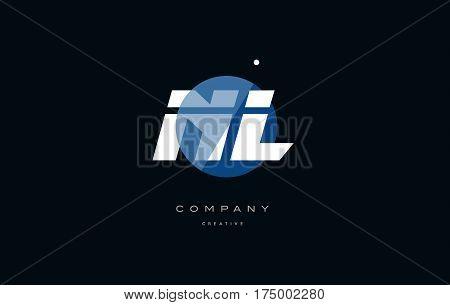 Nl N L  Blue White Circle Big Font Alphabet Company Letter Logo