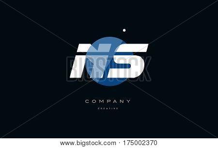 Ns N S  Blue White Circle Big Font Alphabet Company Letter Logo