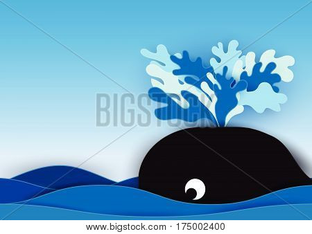Whale spout water in the ocean background. Design paper cut style. Cartoon vector illustration.