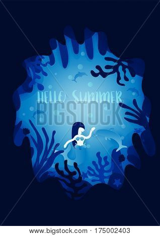 Mermaid and Dolphins in underwater world background. Summer concept in underwater. Vector illustration.
