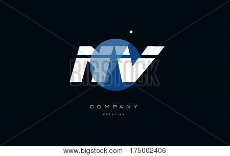 Nv N V  Blue White Circle Big Font Alphabet Company Letter Logo