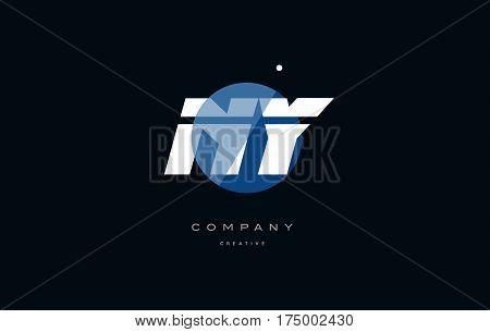 Ny N Y  Blue White Circle Big Font Alphabet Company Letter Logo