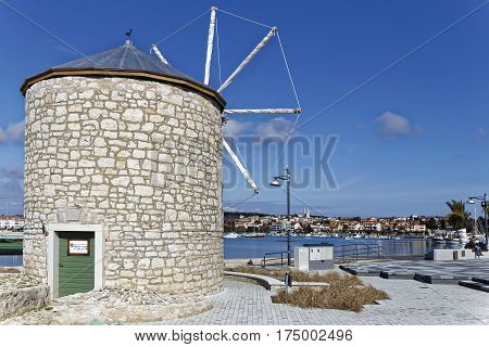 MEDULIN, CROATIA - MARCH 3, 2017: Wind mill detail of Medulin Croatian touristic place in early spring on March 3 2017