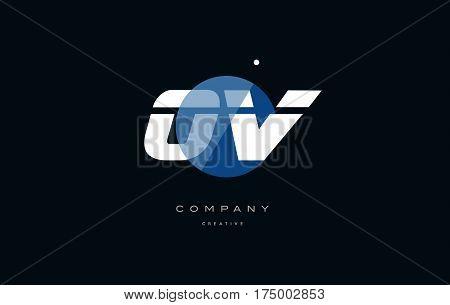Ov O V  Blue White Circle Big Font Alphabet Company Letter Logo