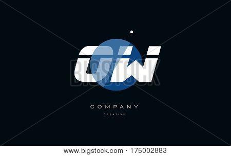 Ow O W  Blue White Circle Big Font Alphabet Company Letter Logo