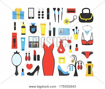 Woman's things set. Girl accessories icons collection of shoes, jewelry, perfume, cosmetics, mirror, dress, underwear. Make-up things. Modern flat design. Vector illustration on white background.
