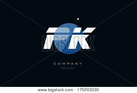 Pk P K  Blue White Circle Big Font Alphabet Company Letter Logo