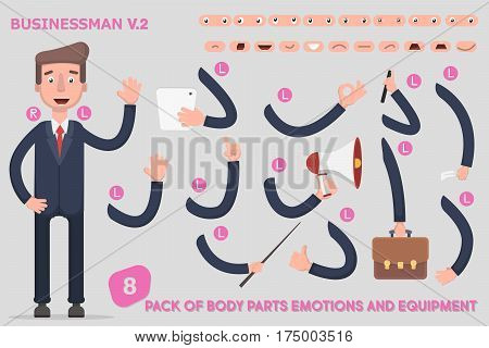 Parts body template for design work and animation. Funny office man cartoon. Vector illustration on light background. Set the character says costume animations. Vector illustration in a flat style.