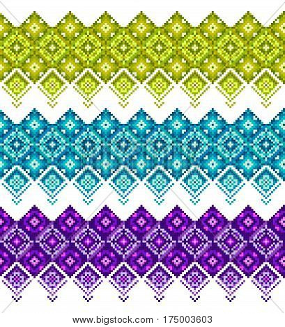 Tree seamless patterns for your design and decoration Green blue and purple. Cool colorful background borders. Good for card greeting business textile flyer. Vector illustration isolated on white