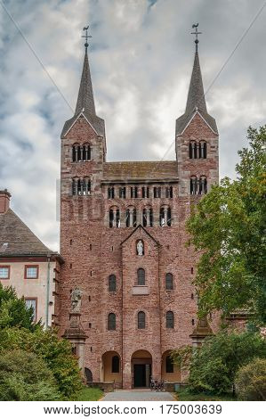 Imperial Abbey of Corvey was one of the most privileged Carolingian monastic sanctuaries in the ninth century Duchy of Saxony