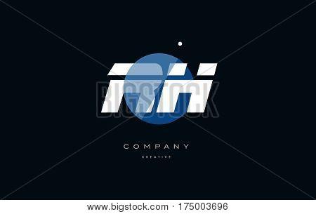 Rh R H  Blue White Circle Big Font Alphabet Company Letter Logo