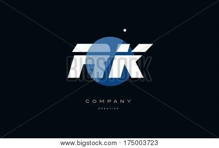 Rk R K  Blue White Circle Big Font Alphabet Company Letter Logo