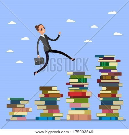 Concept of Business education. Business woman jumping over higher stack of books. Flat design, vector illustration.