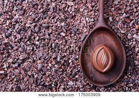 Chocolate candy in a wooden spoon on a crushed raw cocoa beans nibs background. Copy space. Top view