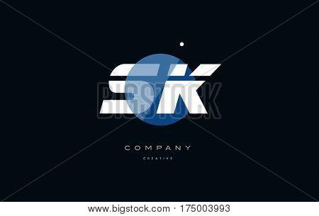 Sk S K  Blue White Circle Big Font Alphabet Company Letter Logo